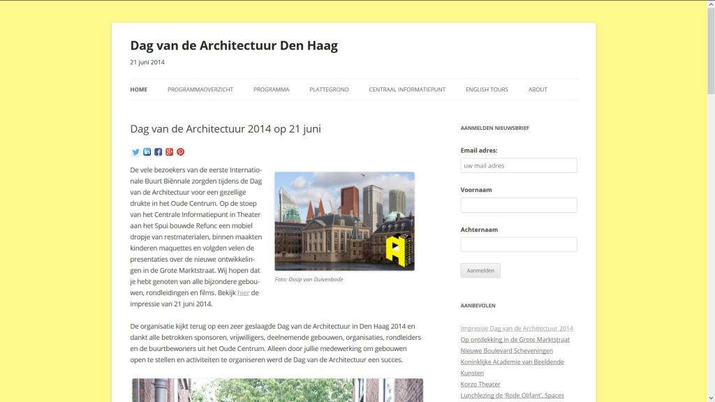 website bouwen voor Dag van de Architectuur